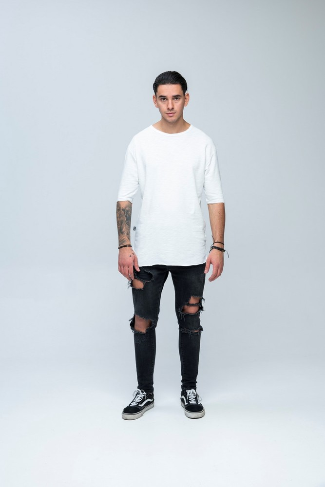 Sweat Slub 3/4 Tee White