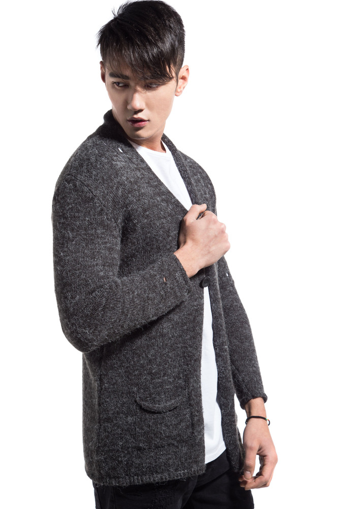 DESTROYED KNIT CARDIGAN ANTHRACITE