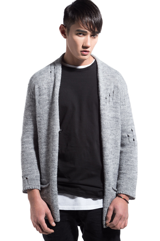 DESTROYED KNIT CARDIGAN GREY