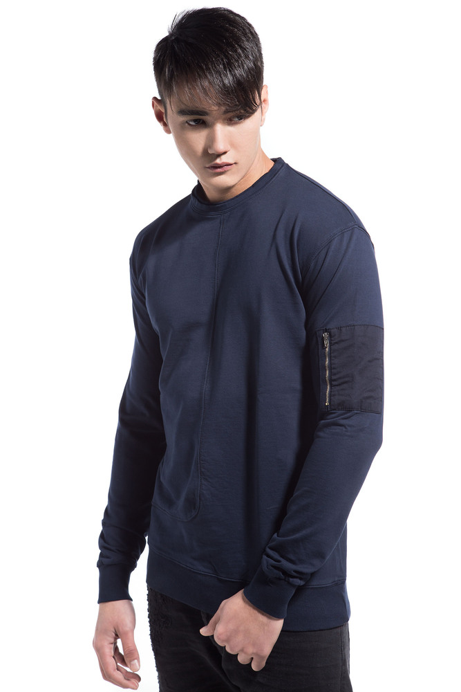 SLEEVE POCKET SWEATSHIRT BLUE
