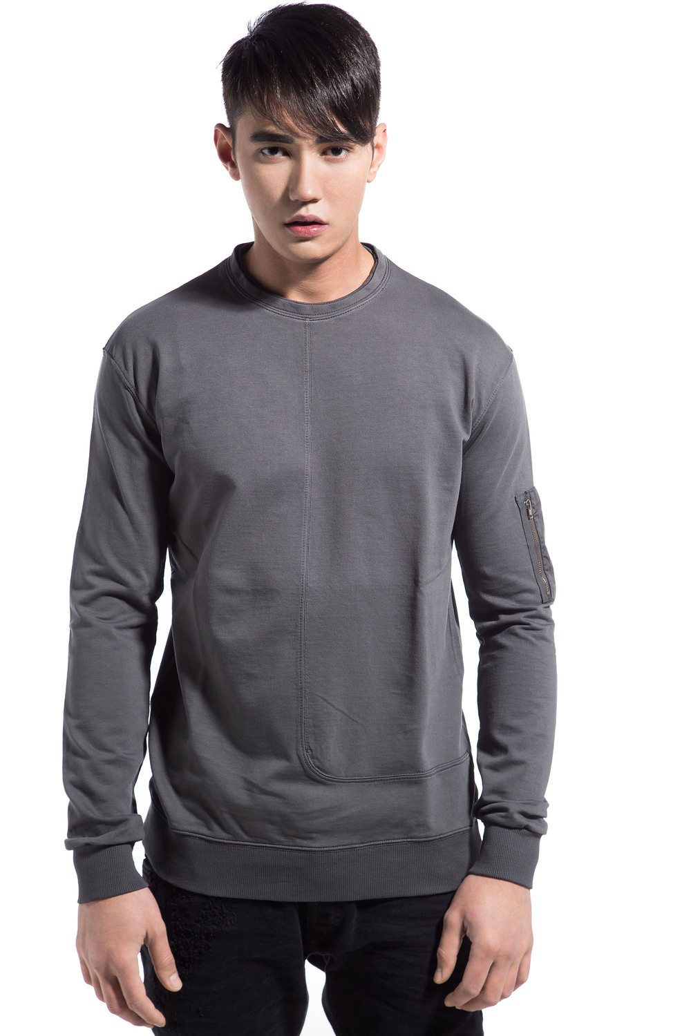 SLEEVE POCKET SWEATSHIRT GREY