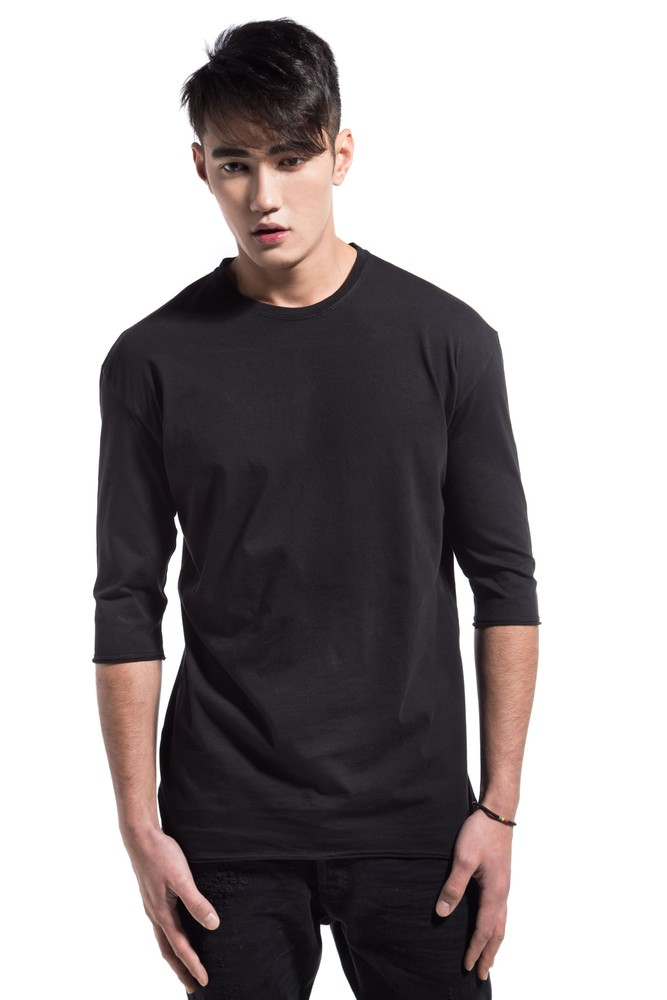 PERFORATED DRAPED TEE BLACK
