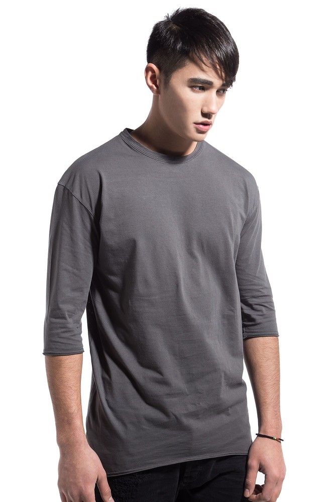 PERFORATED DRAPED TEE GREY