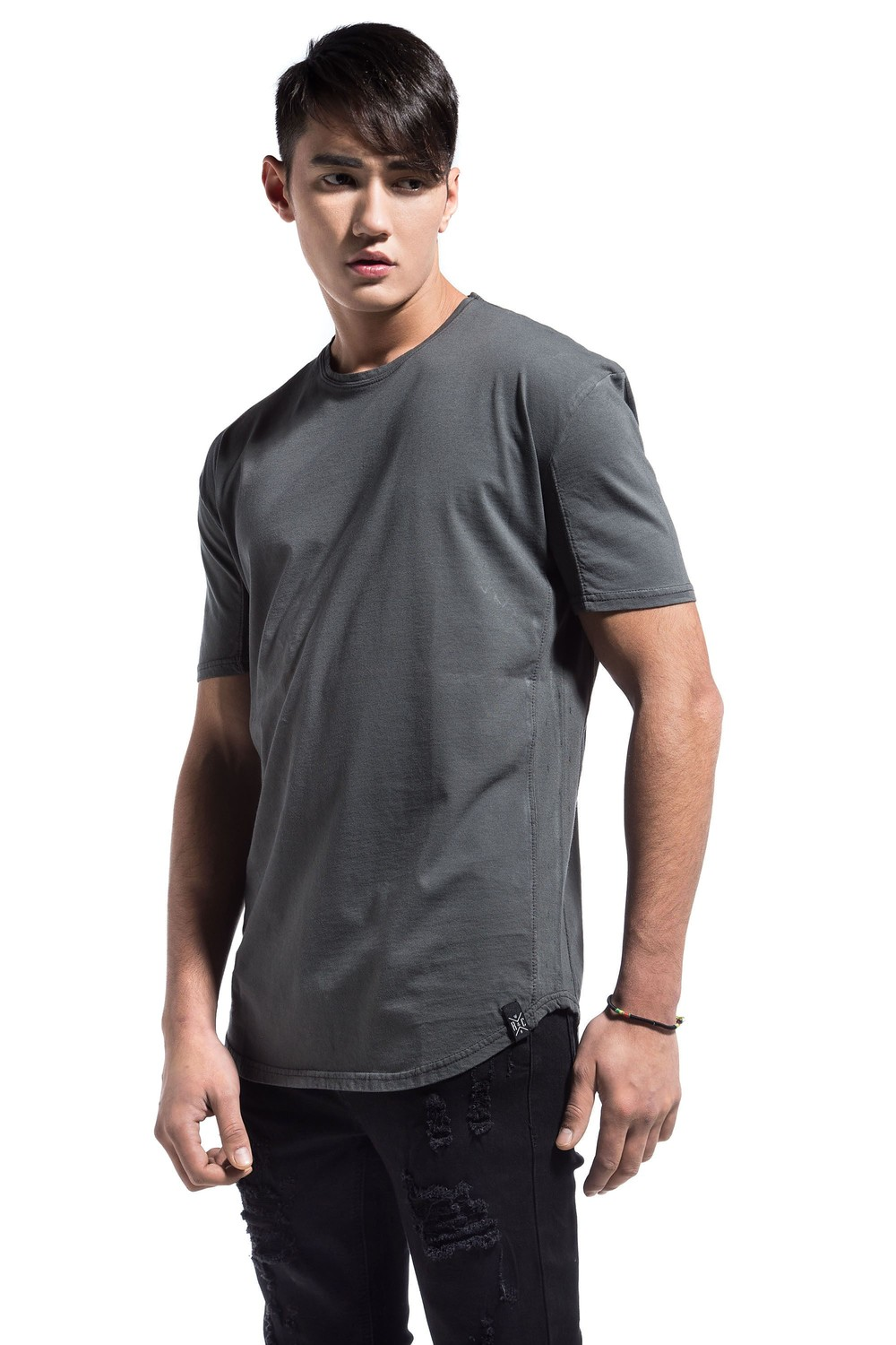 SIDE PERFORATED TEE GREY