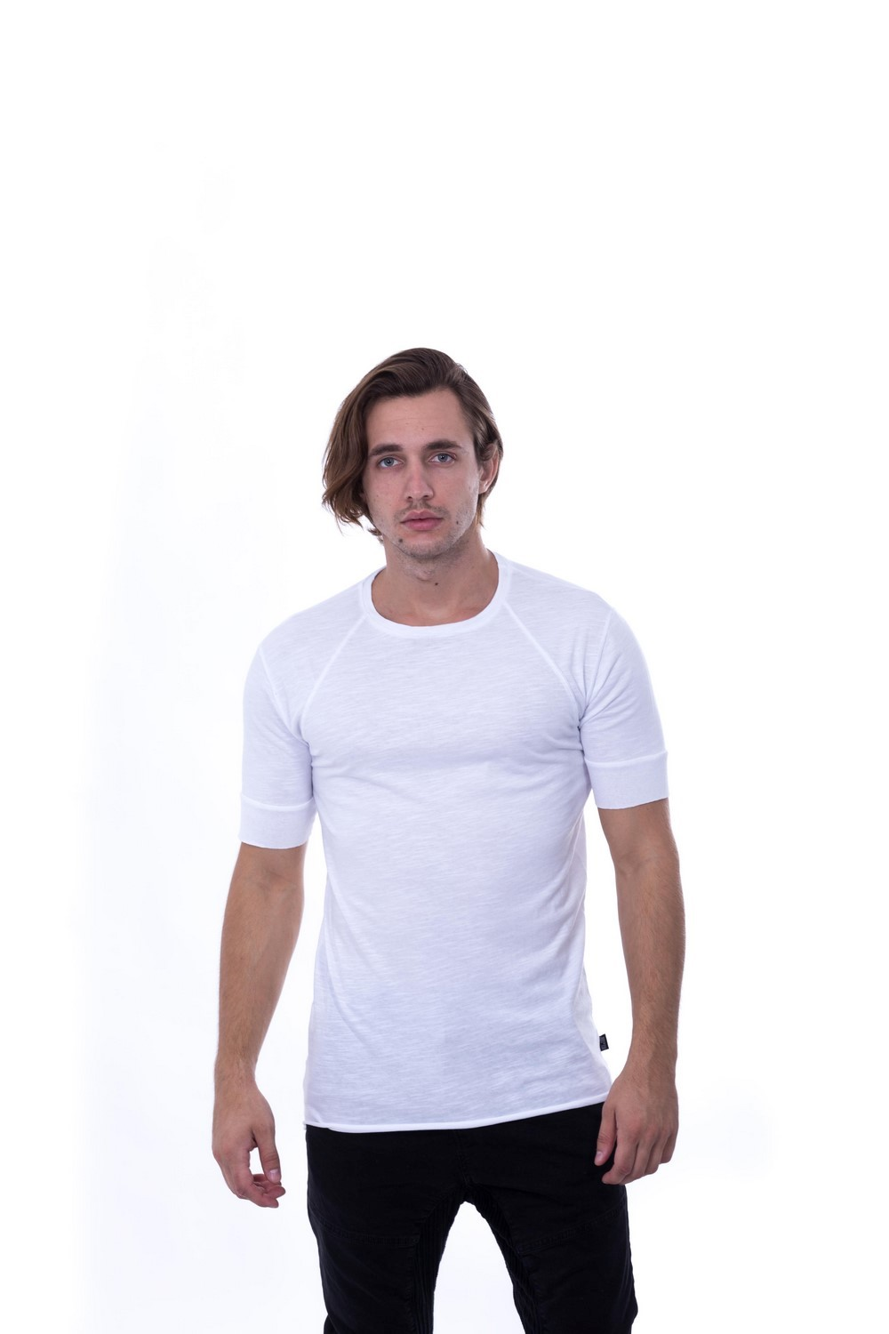 SLUB DRAPED TEE WHITE