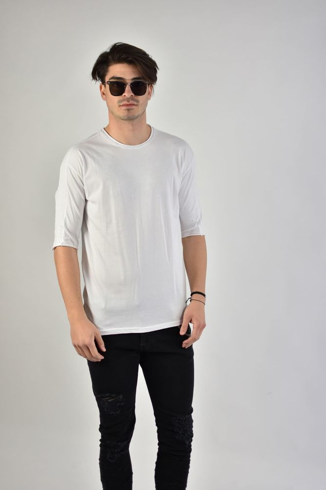LASERCUT NECK TEE WHITE