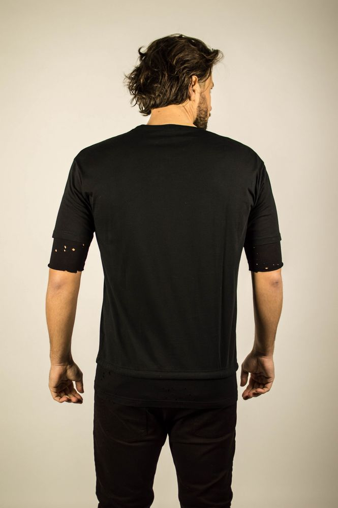 DOWN PERFORE LACE TEE BLACK