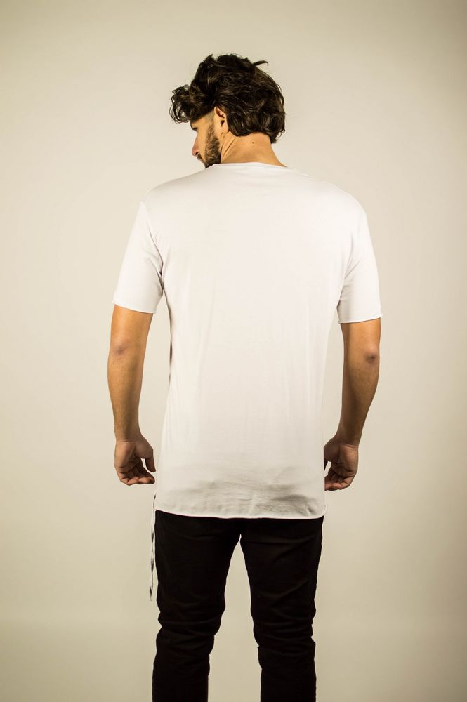 DOUBLE LACE POCKET TEE WHITE