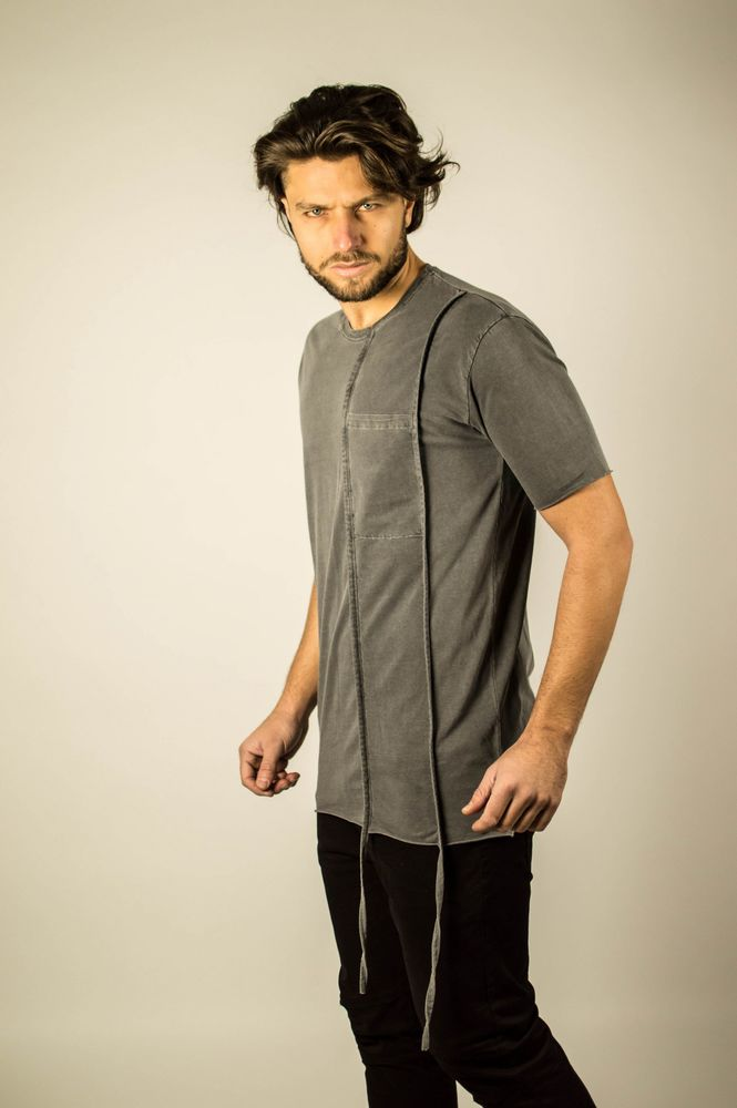 DOUBLE LACE POCKET TEE CARBON