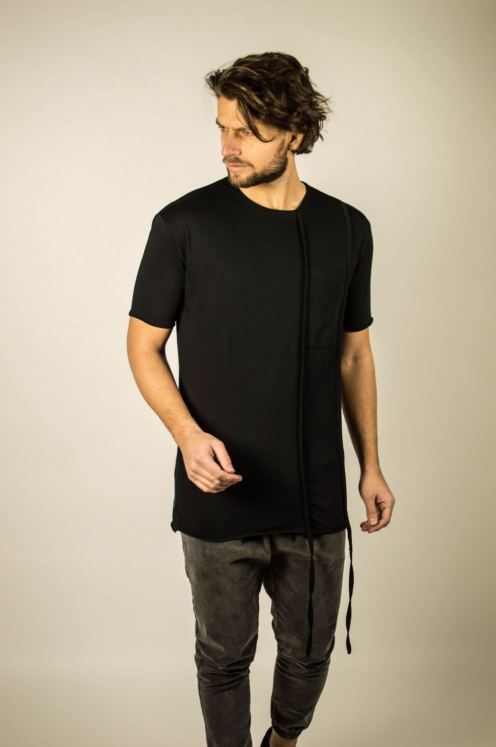 DOUBLE LACE POCKET TEE BLACK