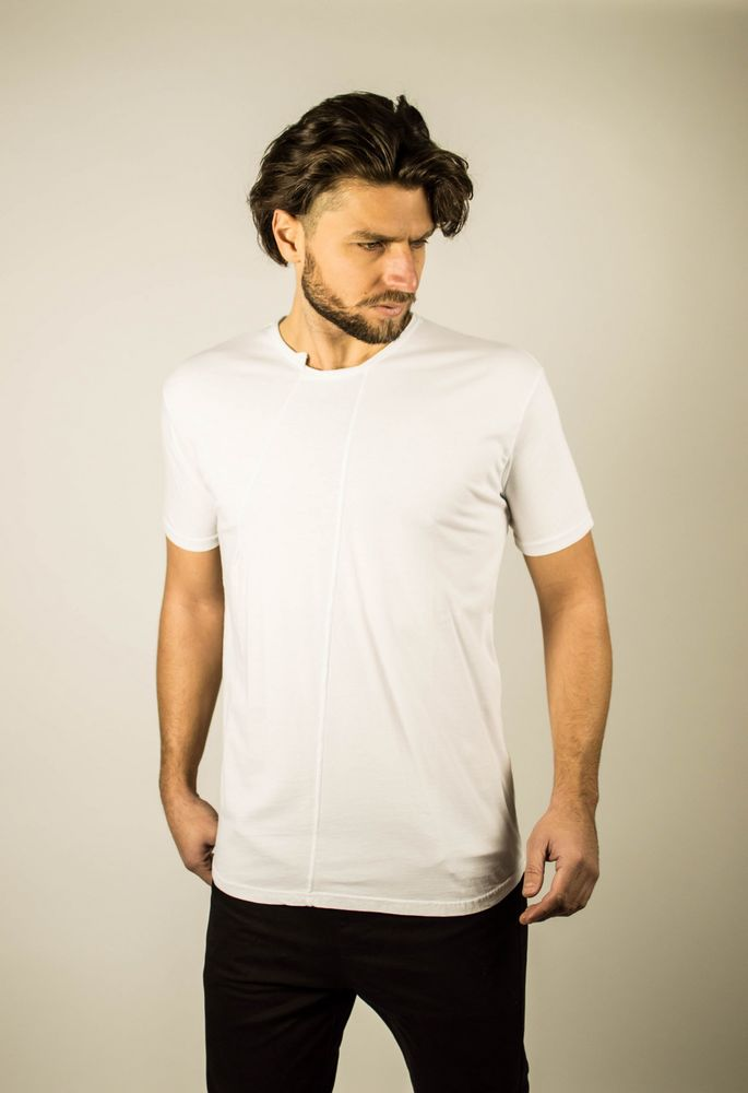 STEP NECK TEE WHITE