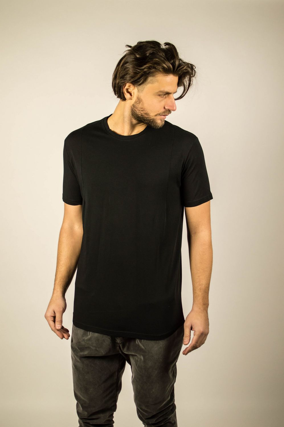 BACK DOUBLE LACE TEE BLACK